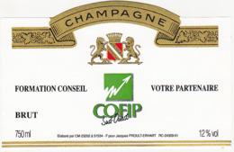 Etiquette Champagne BRUT FORMATION CONSEIL COFIP Sud-Ouest / Jacques PROULT-ERHART (51) / 750 Ml - Champagne