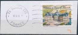 France - Châteaux Et Demeures II (Vaux Le Vicomte) YT A731 Obl. Ondulations Et Dateur Rond Sur Fragment - Francia