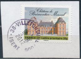 France - Châteaux Et Demeures II (Brémontier-Merval) YT A732 Obl. Cachet Rond Manuel Sur Fragment - Francia