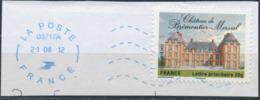 France - Châteaux Et Demeures II (Brémontier-Merval) YT A732 Obl. Ondulations Et Dateur Rond Bleu Sur Fragment - Francia