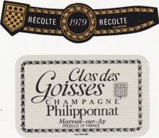 Etiquette Champagne Clos Des Goisses Récolte 1979 / Philipponnat à Mareuil-sur-Ay (51)  (2 Pièces) - Champagne