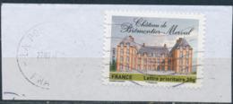 France - Châteaux Et Demeures II (Brémontier-Merval) YT A732 Obl. Ondulations Et Dateur Rond Sur Fragment - Francia