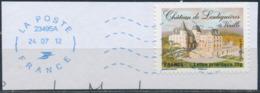 France - Châteaux Et Demeures II (Vixille) YT A733 Obl. Ondulations Et Dateur Rond Bleu Sur Fragment - Francia