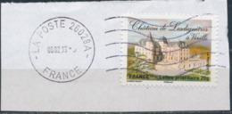 France - Châteaux Et Demeures II (Vixille) YT A733 Obl. Ondulations Et Dateur Rond Sur Fragment - Francia