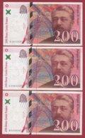"200 Francs ""Eiffel"" 3 Billets 1996----VF/SUP---F/TTB+ - 1992-2000 Ultima Gama"