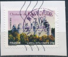 France - Châteaux Et Demeures II (Pierrefonds) YT A734 Obl. Cachet Rond Manuel Et Ondulations Toshiba Sur Fragment - Francia
