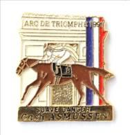 Pin's Cheval SUAVE DANCER Et Son Jockey Cash ASMUSSEN - Vainqueurs ARC DE TRIOMPHE 1991 - First Contact - I720 - Pin's