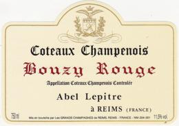 Etiquette Coteaux Champenois BOUZY ROUGE - Abel Lepitre à Reims (51) - 750 Ml - Champagne