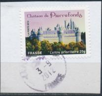 France - Châteaux Et Demeures II (Pierrefonds) YT A734 Obl. Cachet Rond Manuel Sur Fragment - Francia