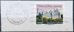 France - Châteaux Et Demeures II (Pierrefonds) YT A734 Obl. Ondulations Et Dateur Rond Sur Fragment - Francia