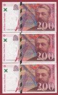 "200 Francs ""Eiffel"" 3 Billets 1997----VF/SUP---F/TTB+ - 1992-2000 Ultima Gama"