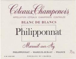 Etiquette Coteaux Champenois Blanc De Blancs Philipponnat à Mareuil-sur-Ay (51) - 75 Cl - Champagne