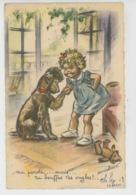 ENFANTS - DOG - Jolie Carte Fantaisie Fillette Avec Chien Caniche Et Ours En Peluche Signée GERMAINE BOURET - Bouret, Germaine