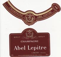 Etiquette Champagne BRUT Abel Lepitre à Reims (51) / 750 Ml (2 Pièces) - Champagne