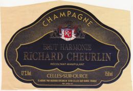 Etiquette Champagne BRUT HARMONIE RICHARD CHEURLIN à Celles-sur-Ource (10) / 750 Ml - Champagne