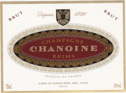 Etiquette Champagne BRUT CHANOINE à Reims (51) / 750 Ml - Champagne