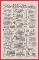 Agriculture. Motoculture: Charrue, Moissonneuse, Batteuse, Locomotive. Illustration Maurice Dessertenne, Larousse 1931. - Documents Historiques