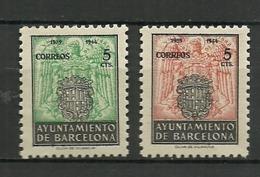 Barcelona 1944 Edifil Edi:ES BASH60/61   * Mlh - Barcelona