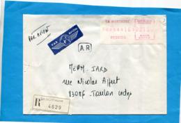 """Réunion Lettre REC AR Avion> Françe-  Afft étiquette  """"la Montagne  Juin 1988- Tarif 21.50 Ff - Postmark Collection (Covers)"""