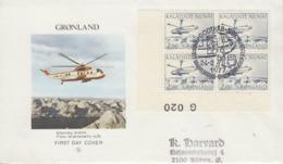 Enveloppe   FDC  1er  Jour   GROENLAND    Hélicoptére   Transports  Postaux    1977 - Hubschrauber