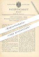 Original Patent - Joseph Kretschmann , Berlin , 1887 , Heber , Glockenheber | WC - Spülung | Toilette , Kloset | Wasser - Historische Dokumente