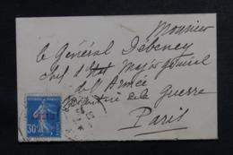 ALGÉRIE - Type Semeuse Surchargée Sur Petite Enveloppe De Paris Pour Etat Major De L 'Armée à Paris En 1926 - L 46693 - Lettres & Documents