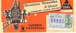Billet De Loterie Nationale, Dernières Nouvelles D'Alsace, 1965, (timbre 1965, 19ème Tranche) - Billetes De Lotería