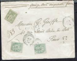 Fr - 1902 - Affranchissement Sage N° 82 + Type Blanc Sur Enveloppe Chargé De St Hilaire-du-Harcouet Pour Paris - B/TB - - Storia Postale