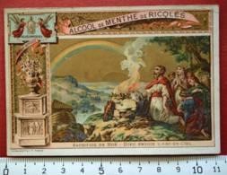RICQLÈS CHROMO 1886 IMAGE SACRIFICE NOË ARC-EN-CIEL BIBLE CATECHISME PUB PUBLICITÉ ALCOOL DE MENTHE ROMANET PARIS - Andere Sammlungen