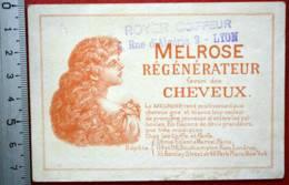 MELROSE REGENERATEUR CHEVEUX CHROMO 1880's ANCIENNE PUBLICITÉ PUB COIFFEUR ROYER LYON - Pubblicitari