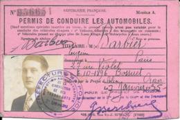 Permis De Conduire 1938 Paris XVème Avec Son Annexe En Parfait état - Transporte