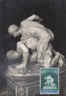 Carte  Maximum  1er  Jour   SAN  MARINO    Lutteurs   1955 - Sculpture