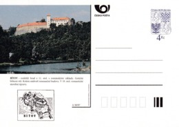 Czech Republic 1997 Postal Stationery Card: Architecture Castle Lion Eagle; BITOV A50/97; - Architektur