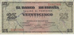 BILLETE DE BURGOS DE 25 PTAS DEL 20/05/1938 SERIE D EN CALIDAD EBC (XF) (BANKNOTE) - [ 3] 1936-1975 : Régimen De Franco