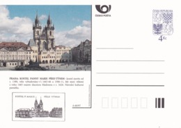Czech Republic 1997 Postal Stationery Card: Architecture Castle Lion Eagle; PRAHA KOSTEL PANNY MARIE PRED TYNEM A60/97; - Architecture