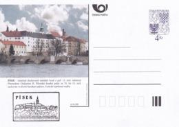 Czech Republic 1999 Postal Stationery Card: Architecture Castle Lion Eagle; PISEK A91/99; Bridge Brücke - Architektur