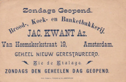 193716Brood, Koek En Banketbakkerij Jac. Kwant Az. Ban Heemskerkstraat 19 Amsterdam - Reclame