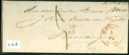 POSTHISTORIE * VOORLOPER * HANDGESCHREVEN BRIEF Uit 1818 Van Langstempel MOORDRECHT Via GOUDA Naar VLAARDINGEN  (11.618) - Pays-Bas