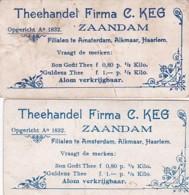 193798Theehandel Firma C Keg Zaandam (Opgericht A O 1832) 2 Plaatjes (kreukels In De Kaartjes) - Reclame