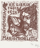 Ex Libris Mario Micheletti, In Memoriam Albrecht Dürer (1471-1528) - Remo Wolf (1912-2009) Gesigneerd - Exlibris