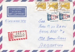 GERMANY ENVELOPPE CIRCULATED FROM BREMER TO BUENOS AIRES, ARGENTINA. YEAR 1991 AIR MAIL REGISTRED -LILHU - Non Classés