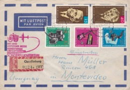 GERMANY ENVELOPPE CIRCULATED FROM QUEDLINBURG TO MONTEVIDEO, URUGUAY. YEAR 1965 AIR MAIL REGISTRED -LILHU - Non Classés