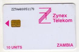 ZAMBIE REF MV CARDS ZAM-02a 10U ZYNEX TELEKOM CN : ZZTAA Année 1998 - Zambie