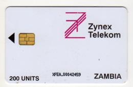 ZAMBIE REF MV CARDS ZAM-04 200U ZYNEX TELEKOM CN : XFEA Année 1998 - Zambie