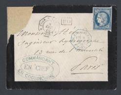 Enveloppe Sans Texte Cérès Y/T 23 Colonies Générales TAD Corp. Armée Cochinchine Du 6/12/76 Vers Paris Coin H G Déchiré - 1849-1876: Classic Period