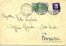 Merano (Bolzano) Vers Ferrara 1936 Ambulants Et Plusieurs Cachets Au Dos Lettre, Cover, Brief. Voir 2 Scan - 1900-44 Victor Emmanuel III.