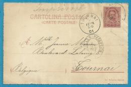 Kaart Vanuit ITALIE Naar TOURNAI  Met Eliptische-stempel (ovaal) BRUXELLES (RECEPTION) - Postmark Collection