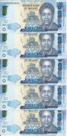 MALAWI 200 KWACHA 2019 UNC P 60 E ( 5 Billets ) - Malawi
