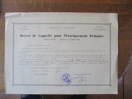BREVET DE CAPACITE POUR L'ENSEIGNEMENT PRIMAIRE INSTITUTRICES  LILLE LE 31 OCTOBRE 1941 MADEMOISELLE BURGER ARLETTE - Diplomas Y Calificaciones Escolares