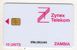 ZAMBIE REF MV CARDS ZAM-02 10U ZYNEX TELEKOM CN : XFBA Année 1998 - Zambia